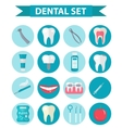 Dental icon set flat style Stomatology kit vector image vector image