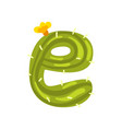 e letter in the form of cactus with blooming vector image