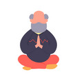 elderly man meditating in a lotus pose simple vector image