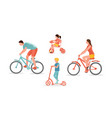 family on bicycles isolated on vector image
