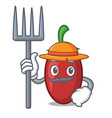 farmer goji berries character cartoon vector image vector image