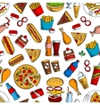 Fast food snacks and beverages seamless background vector image vector image