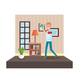 father with baby son in livingroom vector image