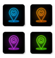 glowing neon map pointer with heart icon isolated vector image vector image