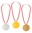 gold silver or bronze medals reward for victory vector image vector image