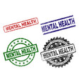 grunge textured mental health seal stamps vector image