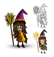 Halloween monsters spooky isolated witches set vector image vector image