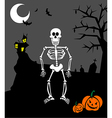halloween pumpkins and skeleton scary background vector image vector image