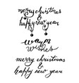 hand drawn lettering set merry christmas and happy vector image vector image