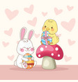 happy easter card with rabbit and chick in fungus vector image vector image
