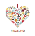 Heart from travel icons vector image