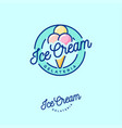 logo ice cream green three scoops vector image vector image