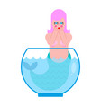 mermaid in aquarium frightened mythical sad woman vector image vector image