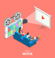 mobile movie flat isometric concept vector image vector image