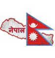 Nepal map with flag inside vector image vector image