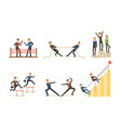 office workers compete with each other achieve vector image