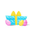 painted easter eggs and blue gift box with yellow vector image