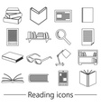 reading books theme set of simple black outline vector image vector image
