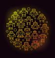 robots circular yellow outline vector image vector image