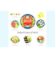 seafood cuisine of world lobster crab shrimp vector image