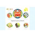 seafood cuisine of world lobster crab shrimp vector image