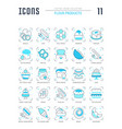 set blue line icons flour products vector image