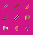 set of 9 editable audio flat icons includes vector image vector image