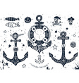 Set of hand drawn anchors vector image vector image