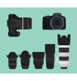 slr dslr camera collection with lens vector image vector image