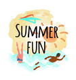 summer fun emblem woman diving afro-american man vector image