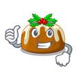 thumbs up cartoon homemade christmas pudding with vector image