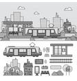 tram on street line monochrome vector image vector image