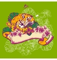 Tropical Exotic Floral Card with Toucan and Tiger vector image