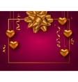 Valentines Day background with hanging gold heart vector image