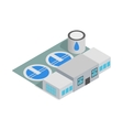Water treatment building icon isometric 3d style