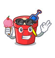 with ice cream sand bucket character cartoon vector image