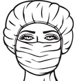 Woman in a Surgical Mask vector image vector image