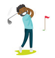 young black golfer hitting the ball vector image vector image