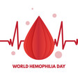 world hemophilia day cardiogram and blood drops vector image