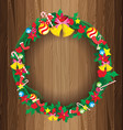 Christmas Wreath on Wooden Board background vector image