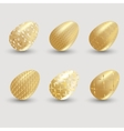 Golden easter eggs with shadow on gray background vector image