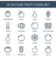 16 fruit icons vector image vector image
