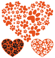 animal paws heart vector image vector image