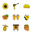 beekeeper icons set cartoon style vector image