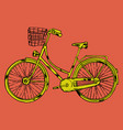 bicycle with cart vector image vector image