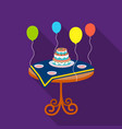 birthday cake on the table icon in flat style vector image vector image