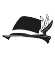 black and white german feather hat silhouette vector image