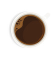 black coffee in white cup top view realistic vector image vector image