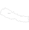 Black White Nepal Outline Map vector image vector image