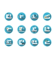 Blue round flat sewing machines icons vector image vector image